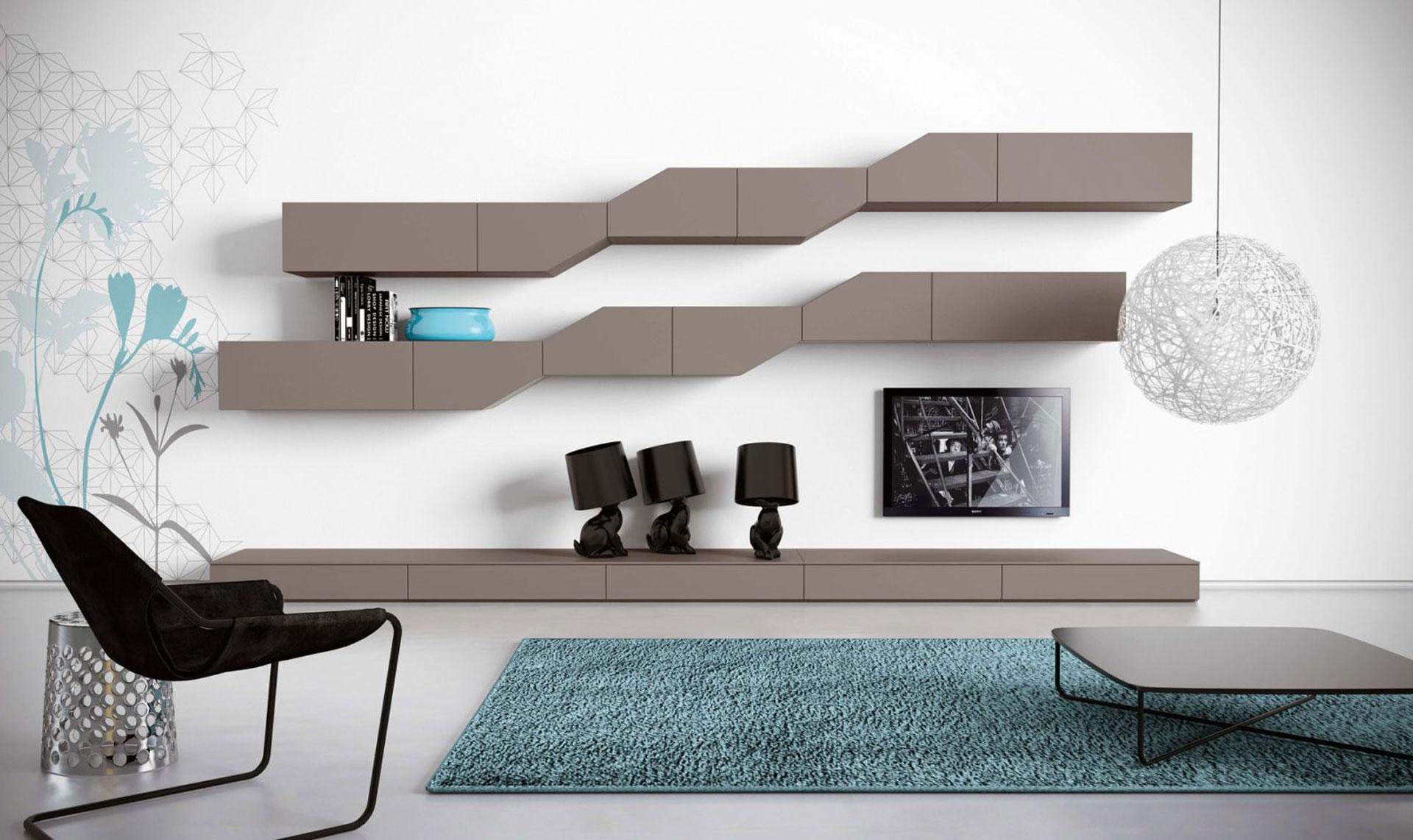 Zona giorno divani olbiarreda arredamenti in sardegna for Parete attrezzata design moderno